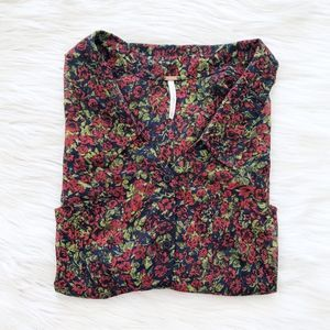 Free People Sheer Floral Print Button Down Shirt